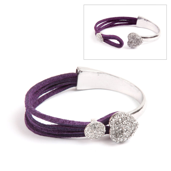 Purple Heart Bar Bracelet