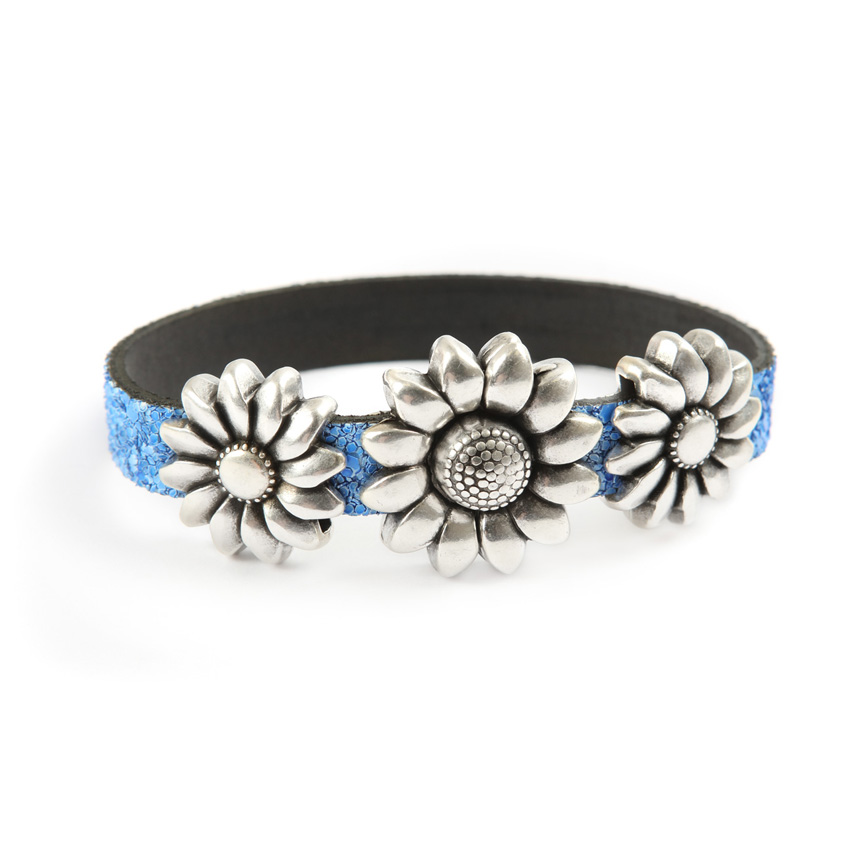 Glitter Ice Blue Flower Bracelet
