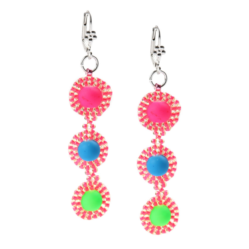Neon Brick Stitch Earrings