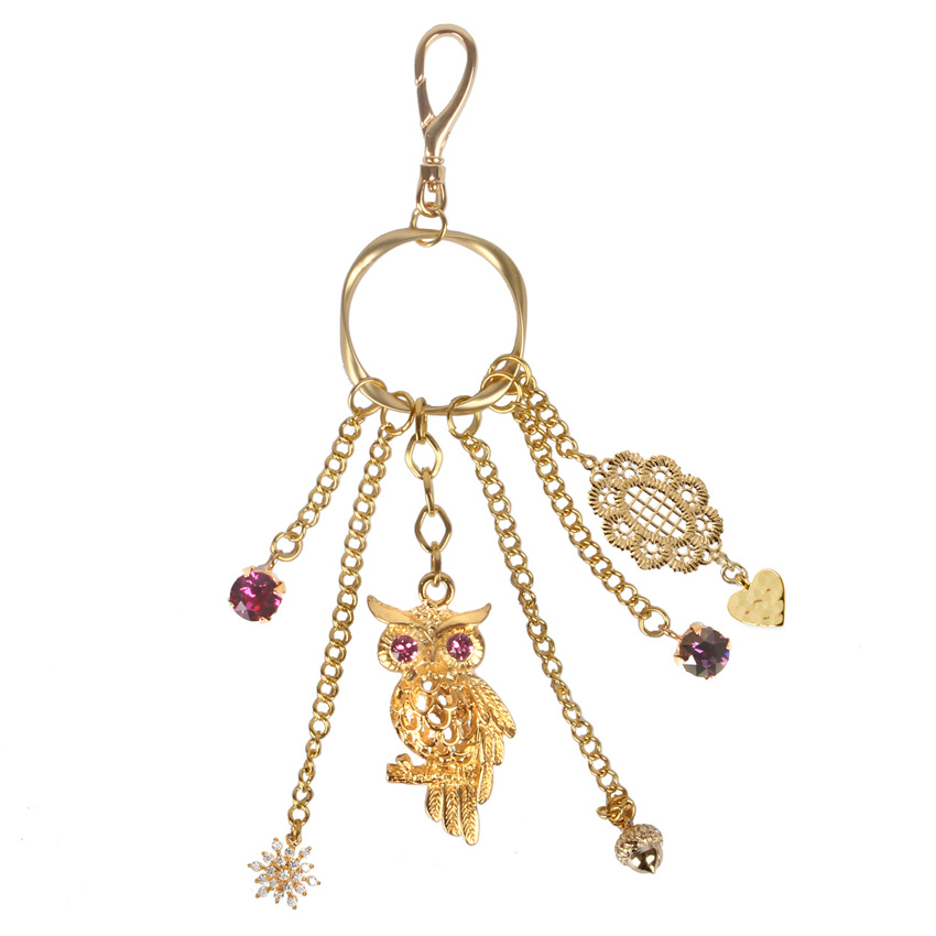 'Filigree Gems' Wise Owl Bag Charm