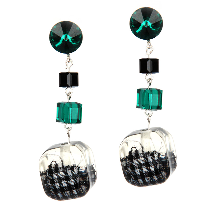Lucite Green Block Earrings