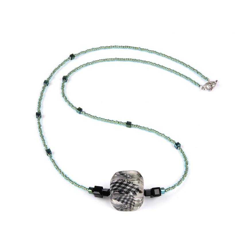Lucite Green Block Necklace