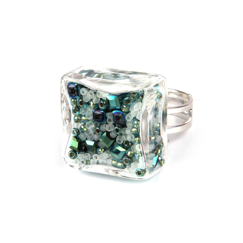 Lucite Green Block Ring