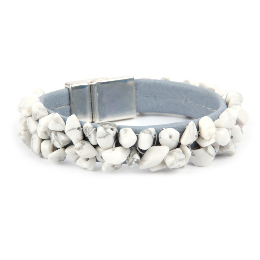 Howlite Leather Bracelet