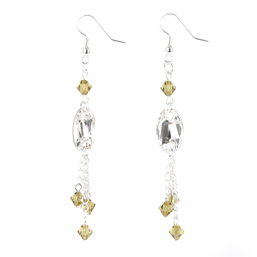 Khaki Crystal Earrings