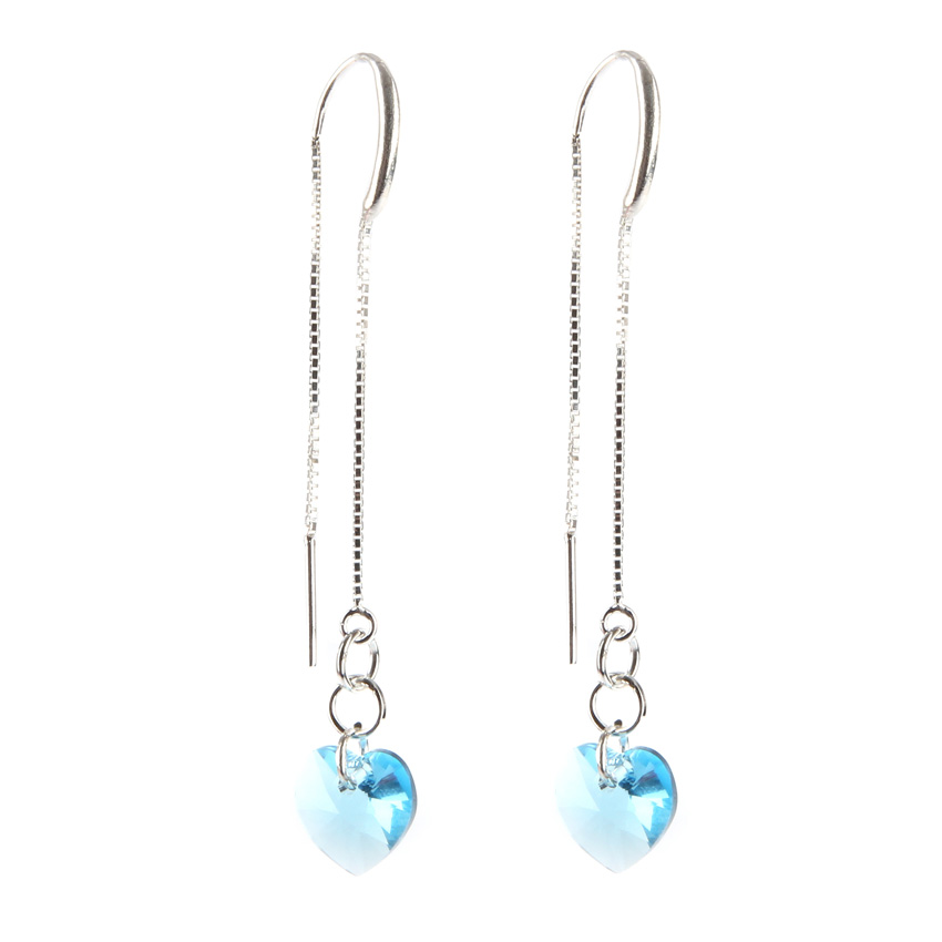 Aqua Heart Earrings