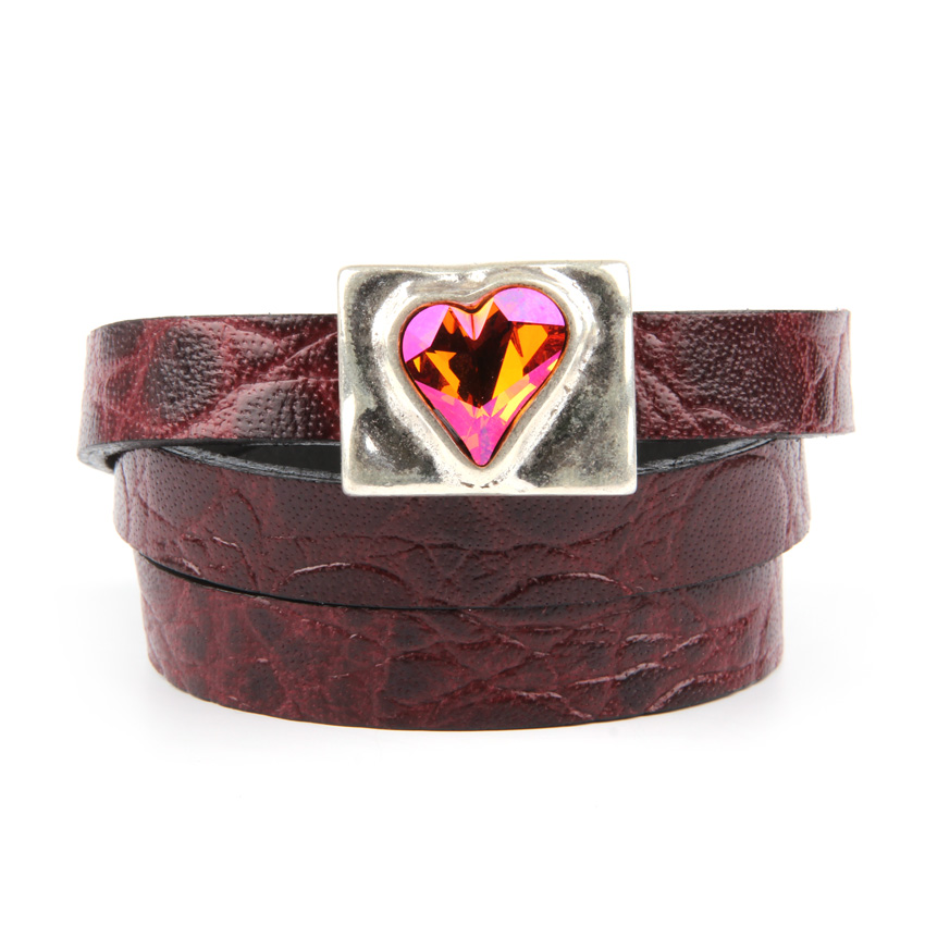 Astral Pink Sweet Heart Leather Bracelet