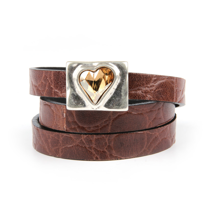 Golden Sweet Heart Leather Bracelet