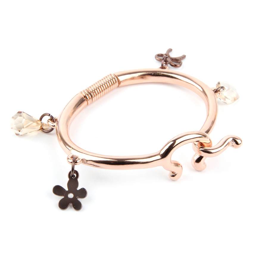 Rose Gold Charm Bangle