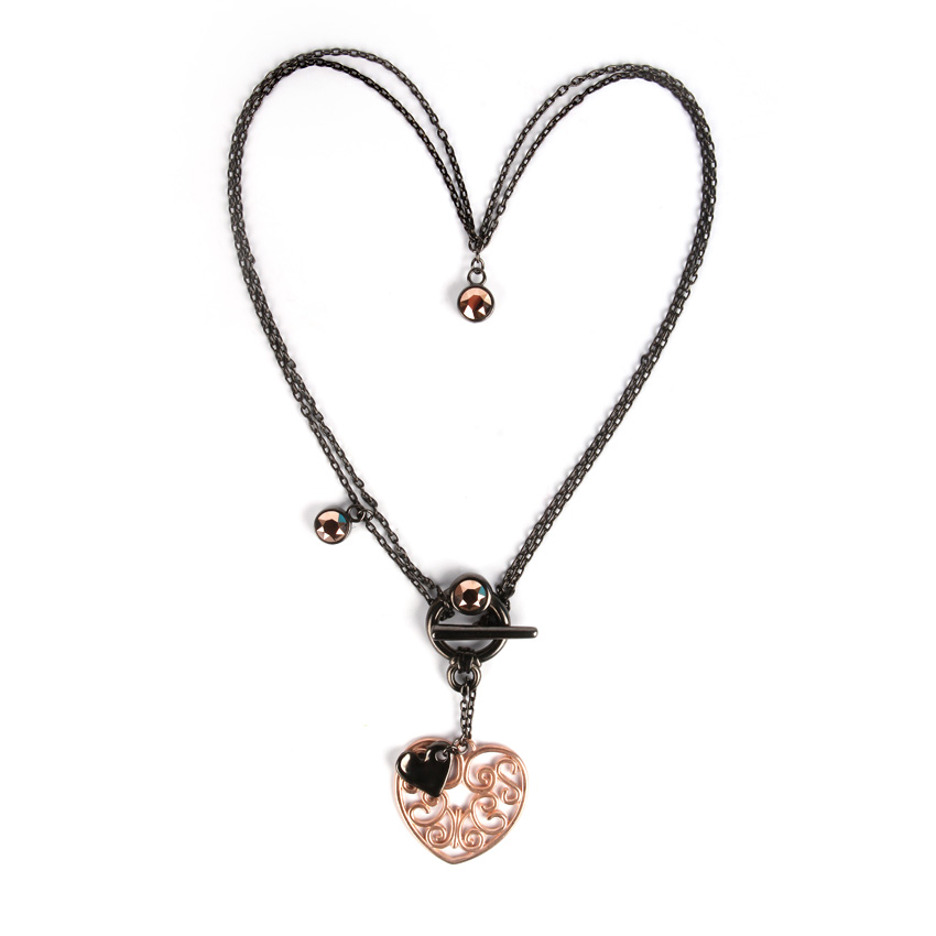Swarovski Rose Heart Necklace