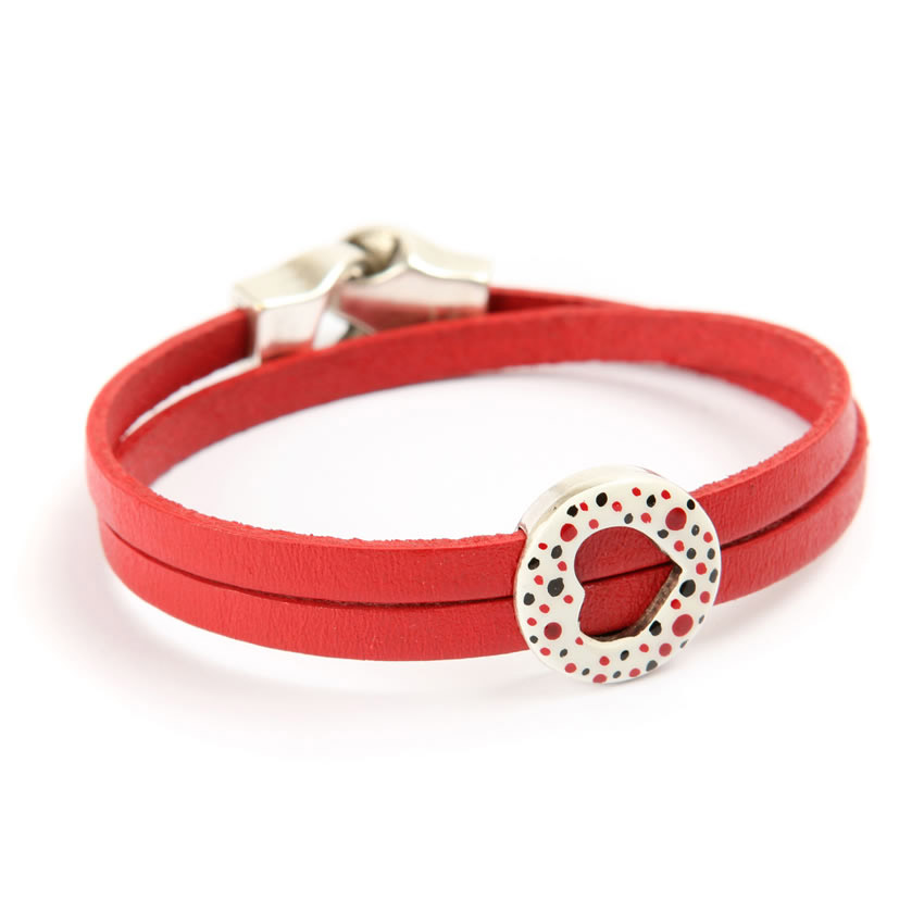Queen of Hearts Leather Bracelet