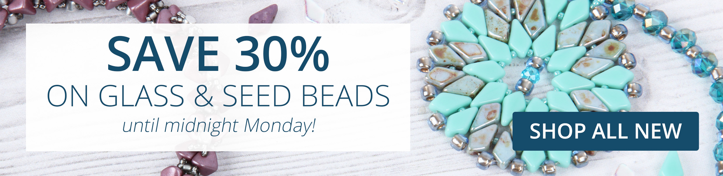 30% off glass and seeds