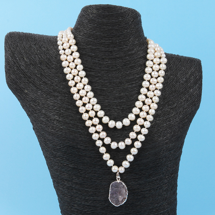 Knotted Pearl & Druzy Necklace