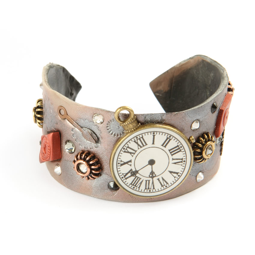 Mixed Media Clock Bangle