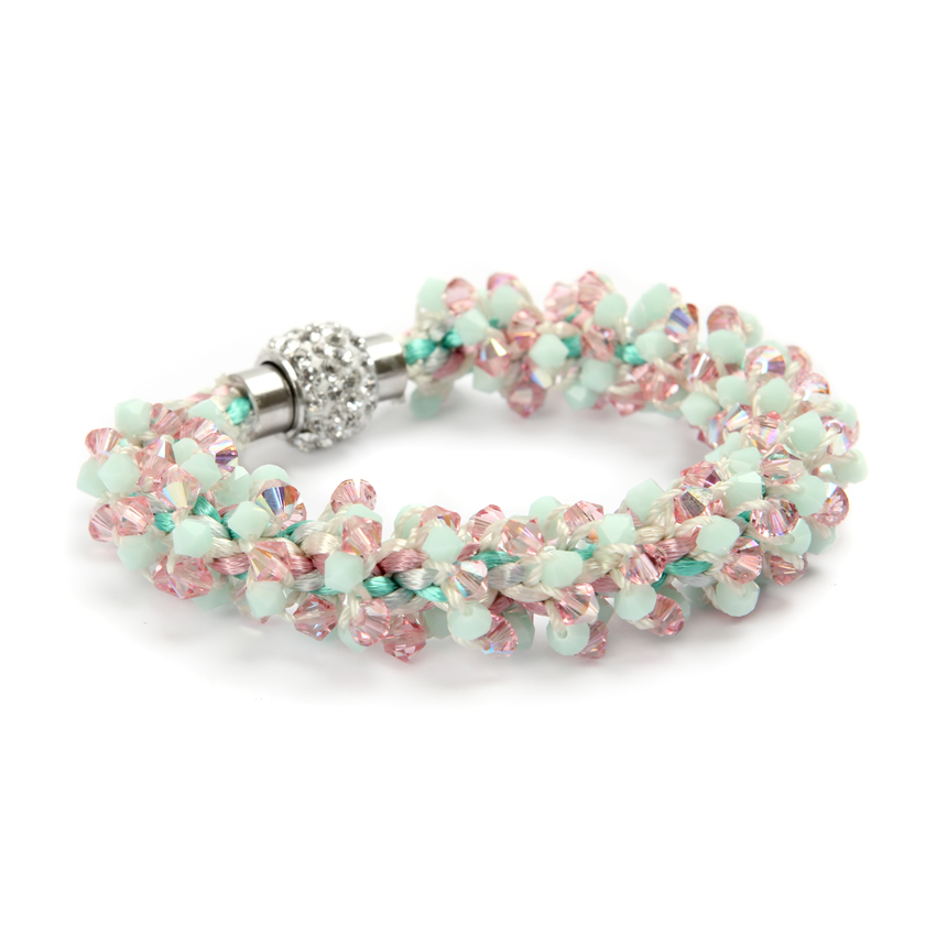 Summer Braiding Pink and Green Bracelet