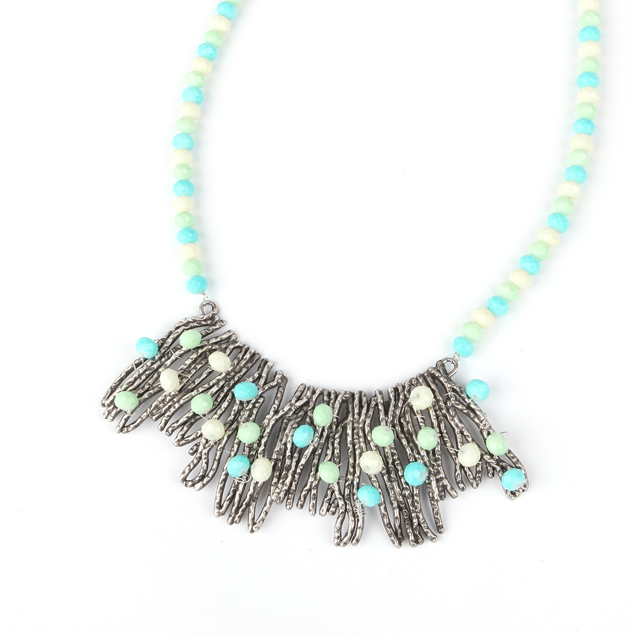 Mint Cascade Collar Necklace