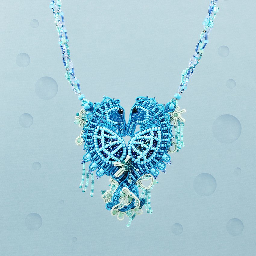 'Summer Love Seahoses' Soutache Necklace