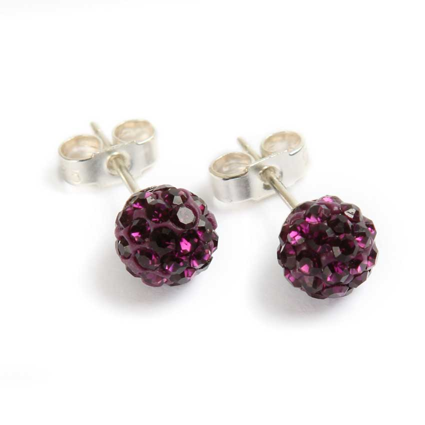 Purple Shamballa Style Earrings
