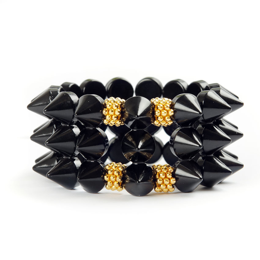 Black Widow Spike Stretch Bracelet