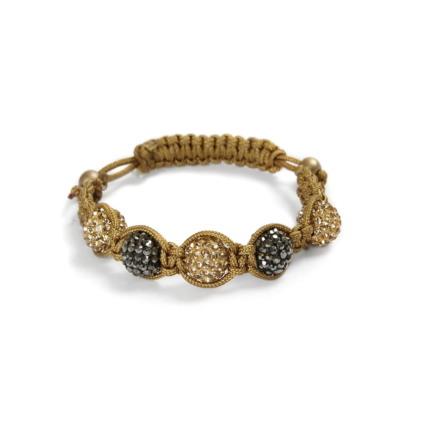 Gold and Gunmetal Shamballa Fashion Bracelet