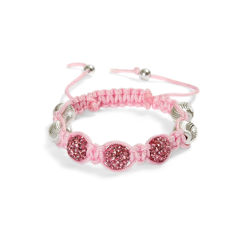 Silver and Pink Shamballa Fashion Bracelet