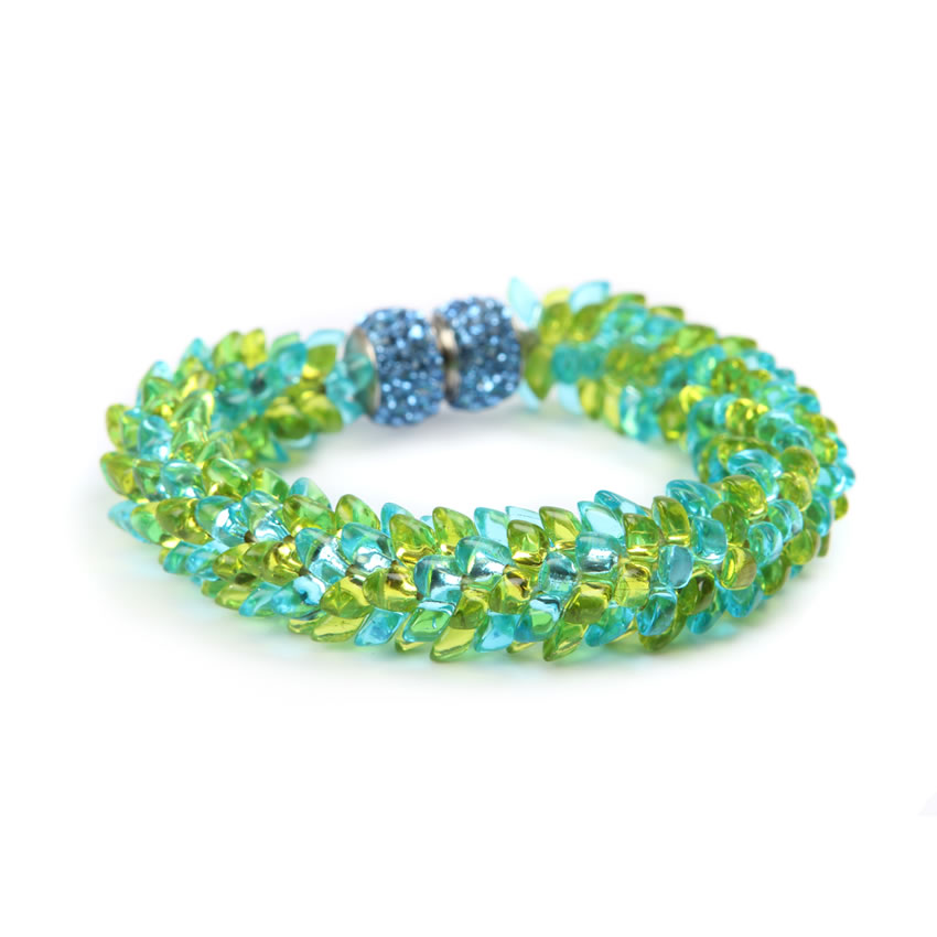 Blue Lime Long Magatama Bracelet