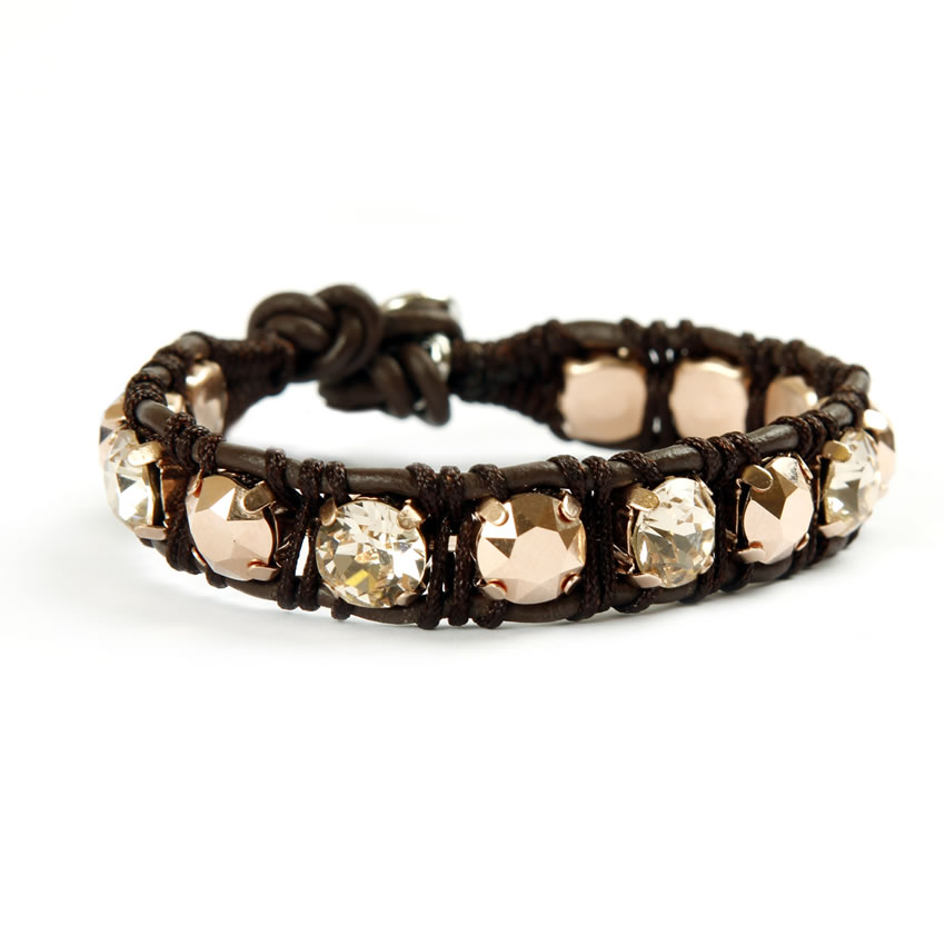 Brown Leather Wrap Enchanted Jewels Bracelet