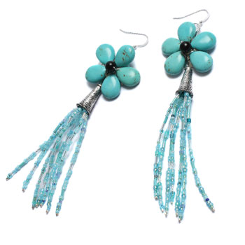 Turquoise Tassel Earrings p.19