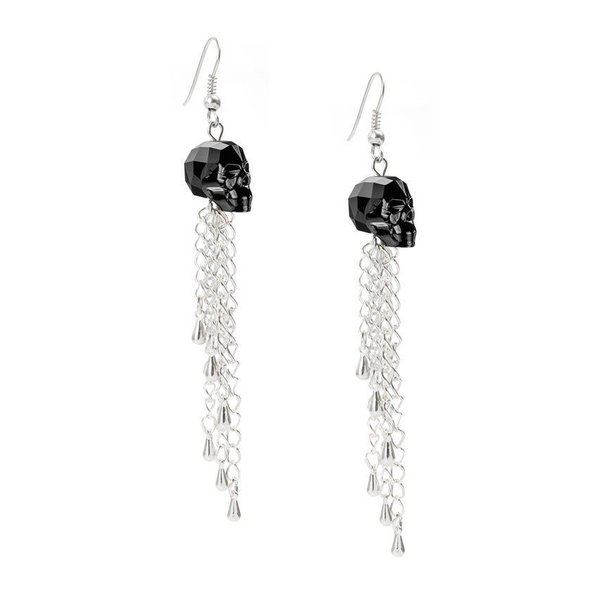 Swarovski Jet Skull Earrings
