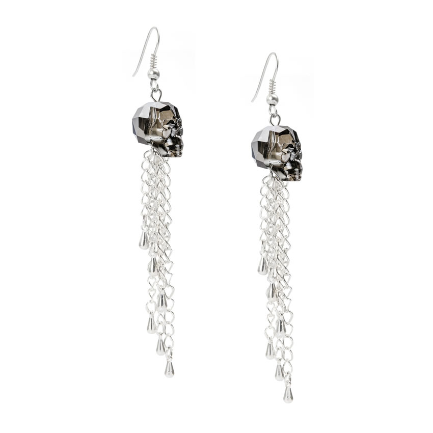 Swarovski Silver Night Skull Earrings