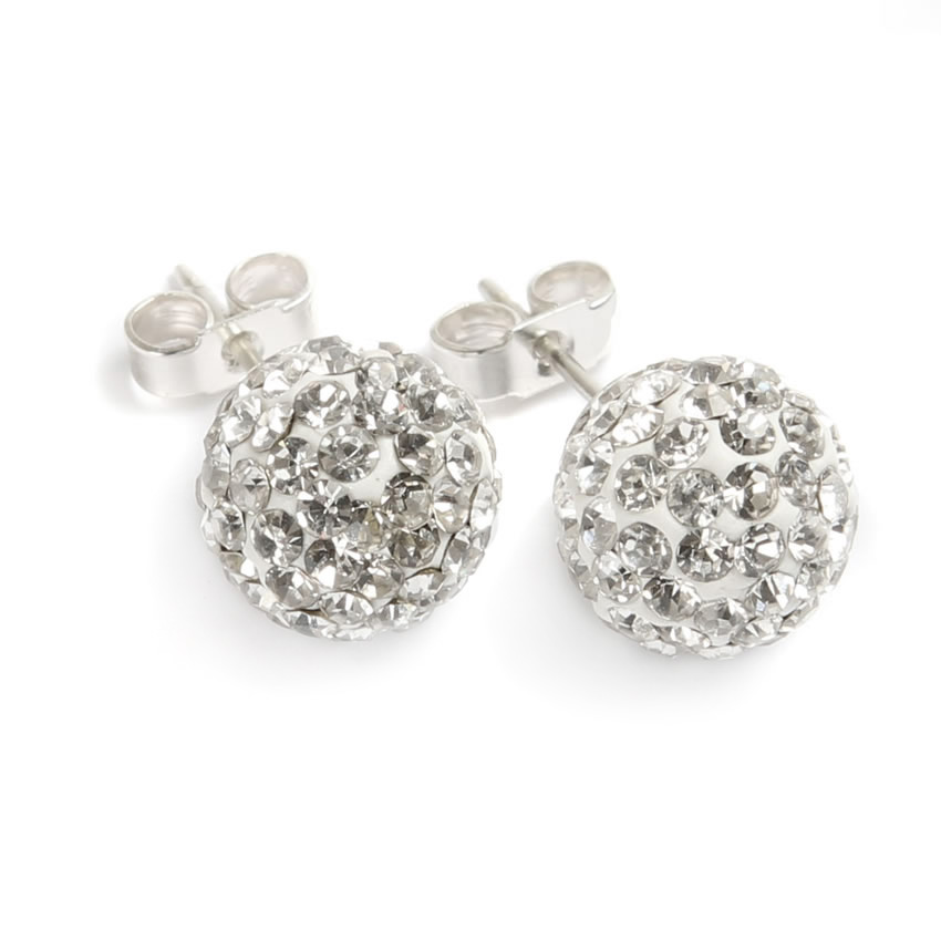 Silver Shamballa Fashion Earrings