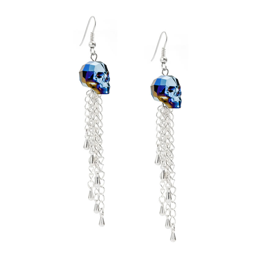Swarovski Metallic Skull Earrings