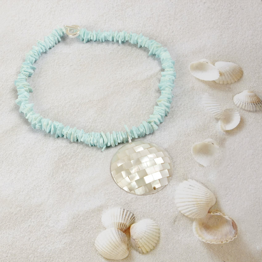 Cherish Shell Blue Necklace