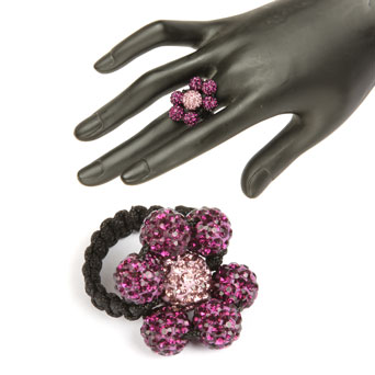 Flower Power Shamballa Fashion Ring