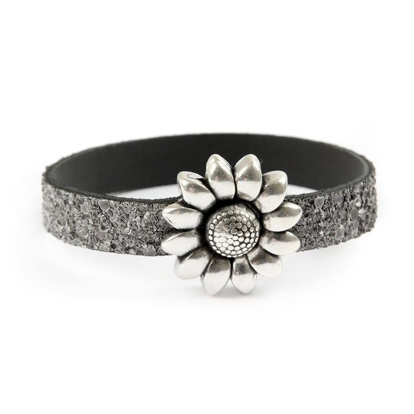 Glitter Ice Grey Flower Bracelet