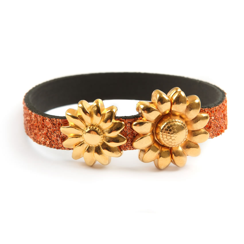 Glitter Ice Orange Flower Bracelet