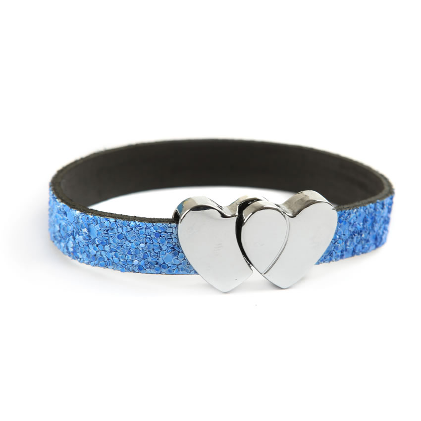 Glitter Ice Blue Heart Bracelet