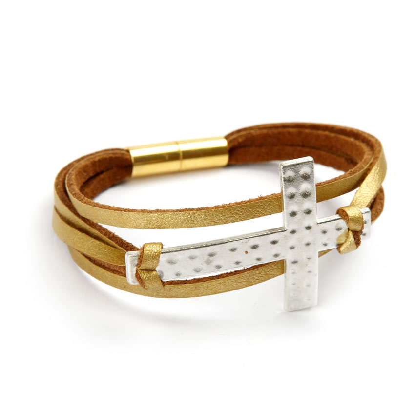 Gold Cross Memory Bracelet