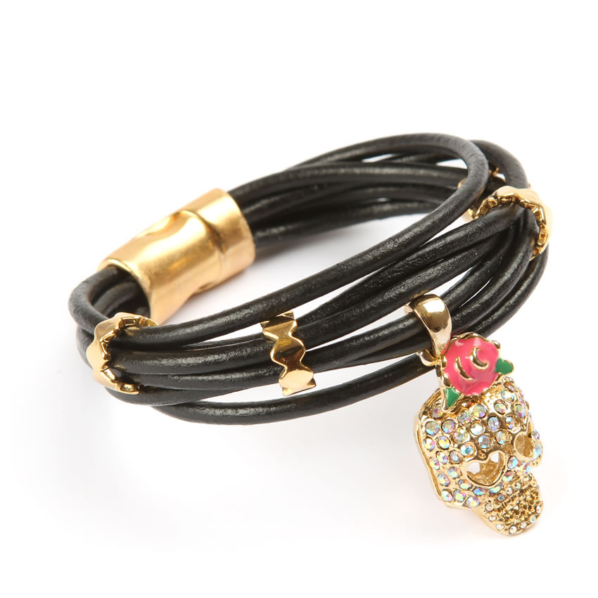 Luxe Skull Leather Bracelet