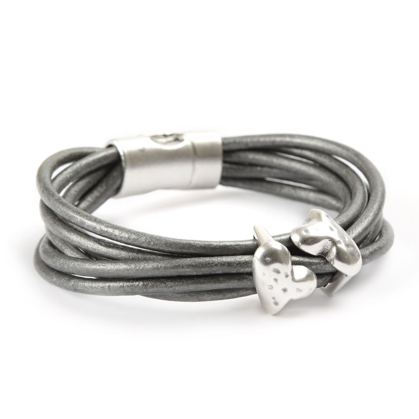 Luxe Heart Leather Bracelet