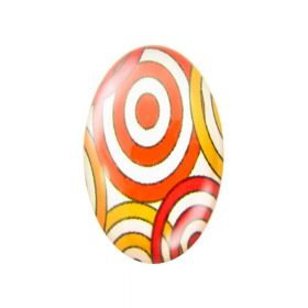 Glass cabochon with graphics 13x18mm PT1037 / orange-yellow / 2pcs