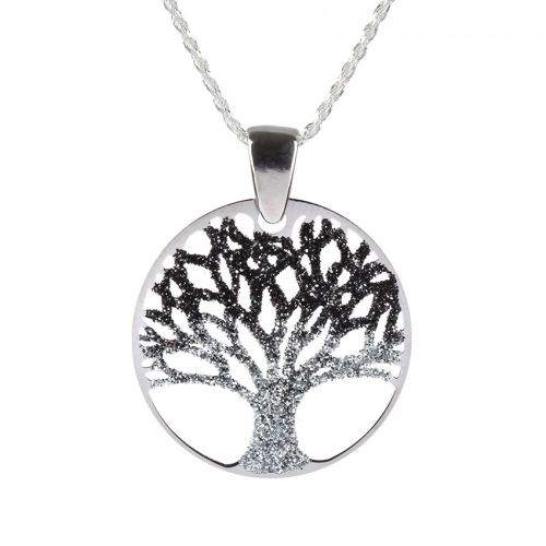 Ready To Wear Sterling Silver 925 Silver Glitter Tree of Life Necklace with Gift Box