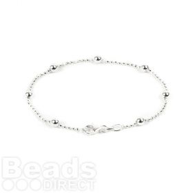 Sterling Silver 925 Large Ball Chain Bracelet with Clasp 1mm/4mm 17.5cm