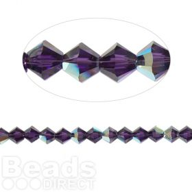 5328 Swarovski Crystal Bicones Xillion 4mm Purple Velvet AB Pk24