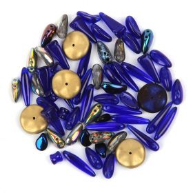 Preciosa Czech Glass Shape Mix Metallic Dark Blue 20g