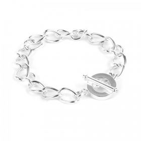 "Silver Plated Charm Bracelet Base with Toggle Clasp 20cm (8"") Pk1"