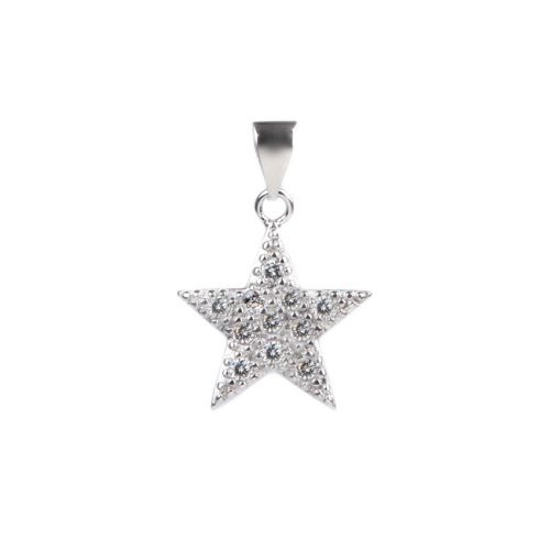 X-Rhodium Plated Cubic Zirconia Star Charm 14mm with Bail Pk1