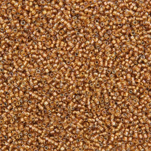 X- Toho Size 15 Round Seed Beads Gold Lined Topaz 10g