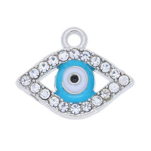 Glamm ™ Eye of the prophet / charm pendant / with zircons / 14x17x3mm / silver plated / Crystal / 2pcs