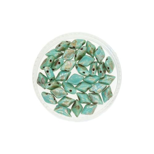 GEMDUO™ / 8x5mm / Silver Picasso / Green Turquoise / 5g / ~35pcs